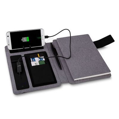 Caderno com Power Bank e Porta Documentos